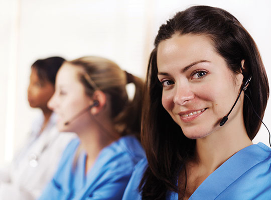 Nurses taking customer service calls